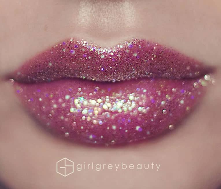Pink glitter-dusted lips