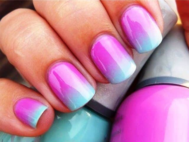 Pink to blue ombre