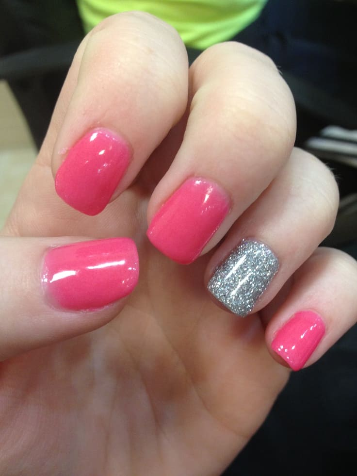 Pink with a glitter accent