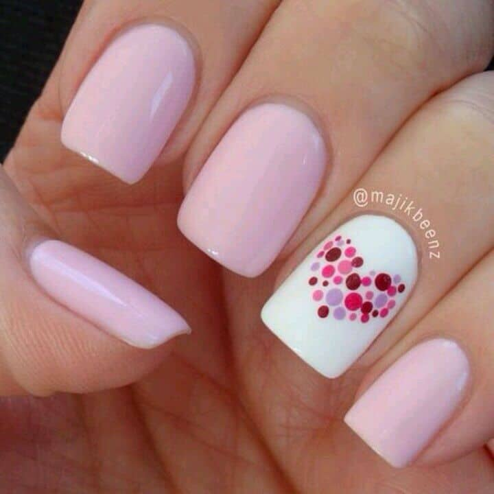 Pink with a polka dot heart accent