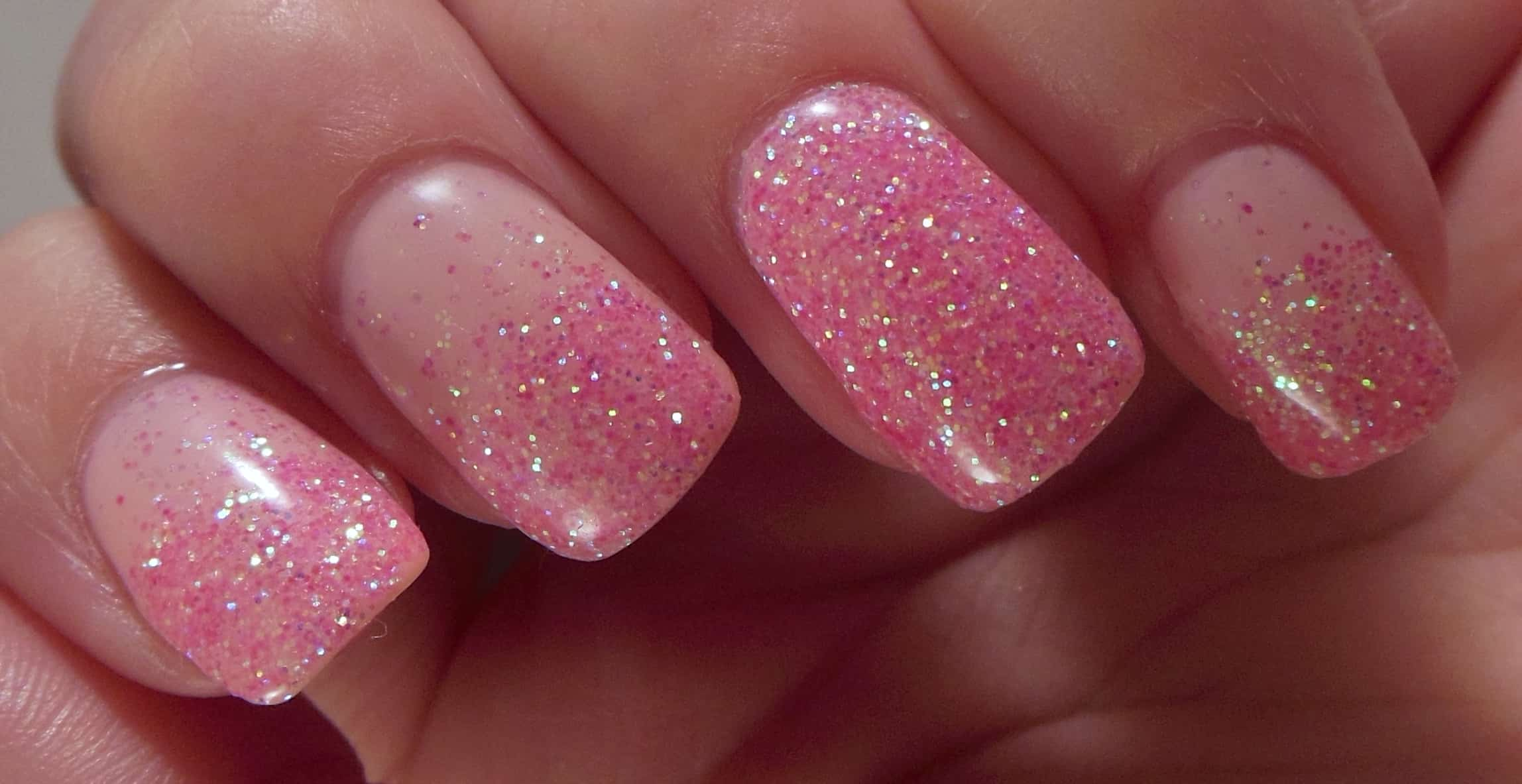Pink with pink glitter tips