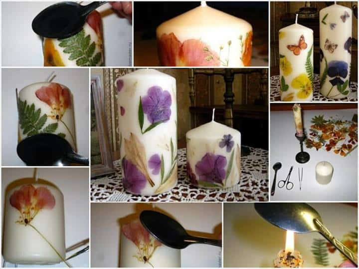 Pressed flower candles