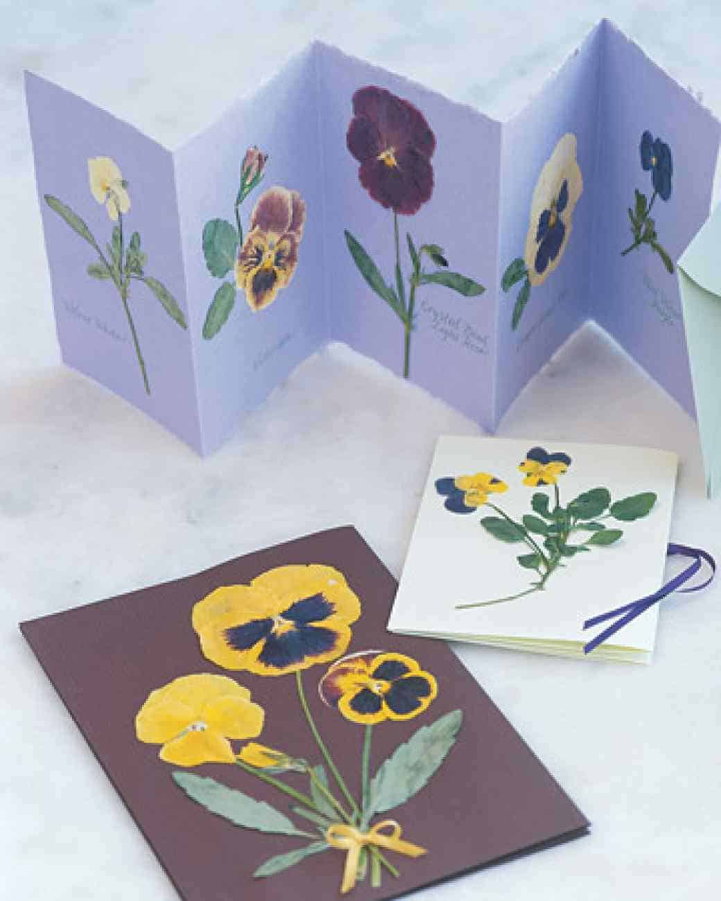 Pressed flower greeting cards