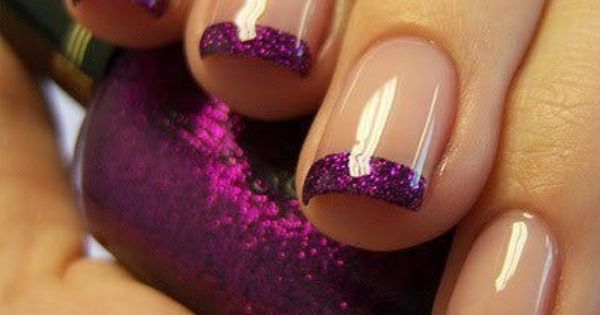 VIEW IN GALLERY Purple Glitter French Manicure
