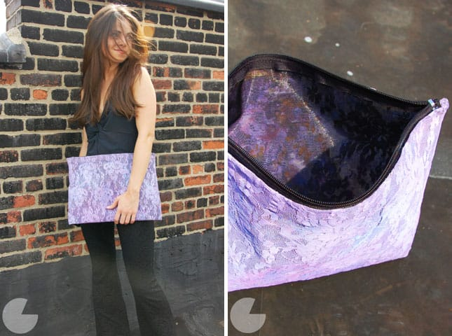 Purple lace clutch