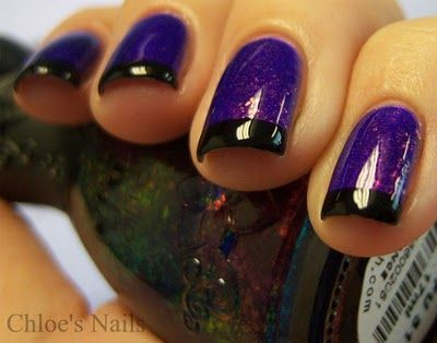 Purple nails with black tips