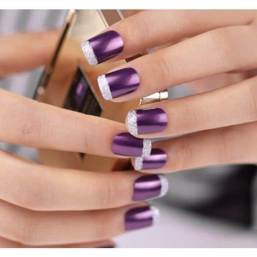 VIEW IN GALLERY Purple Nails With Light Lilac Glitter Tips