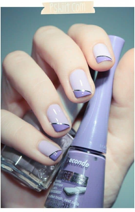 Purple with darker purple angled tips