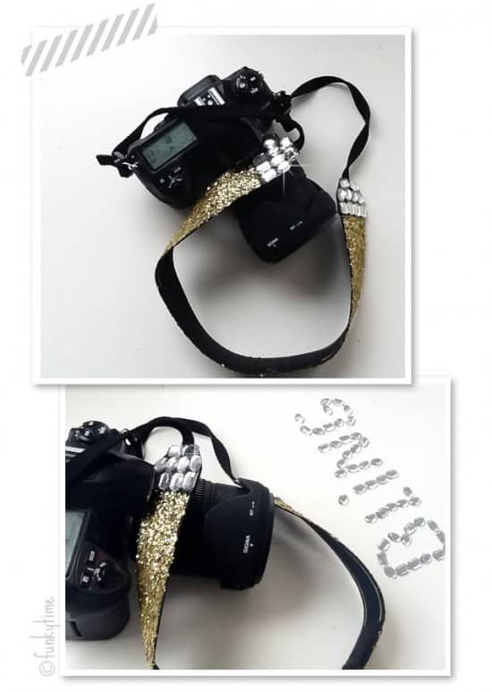 Rhinestoned camera strap
