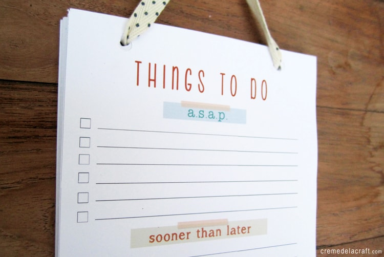 Ribbon punched to do list notepad