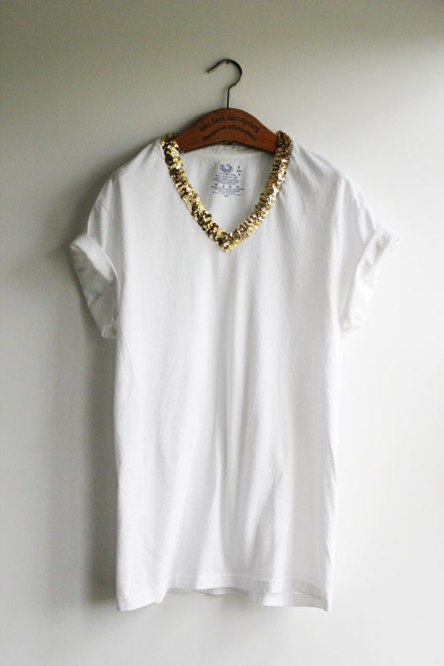 Sequin collared tee