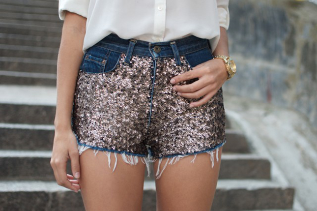 Sequin embellished shorts