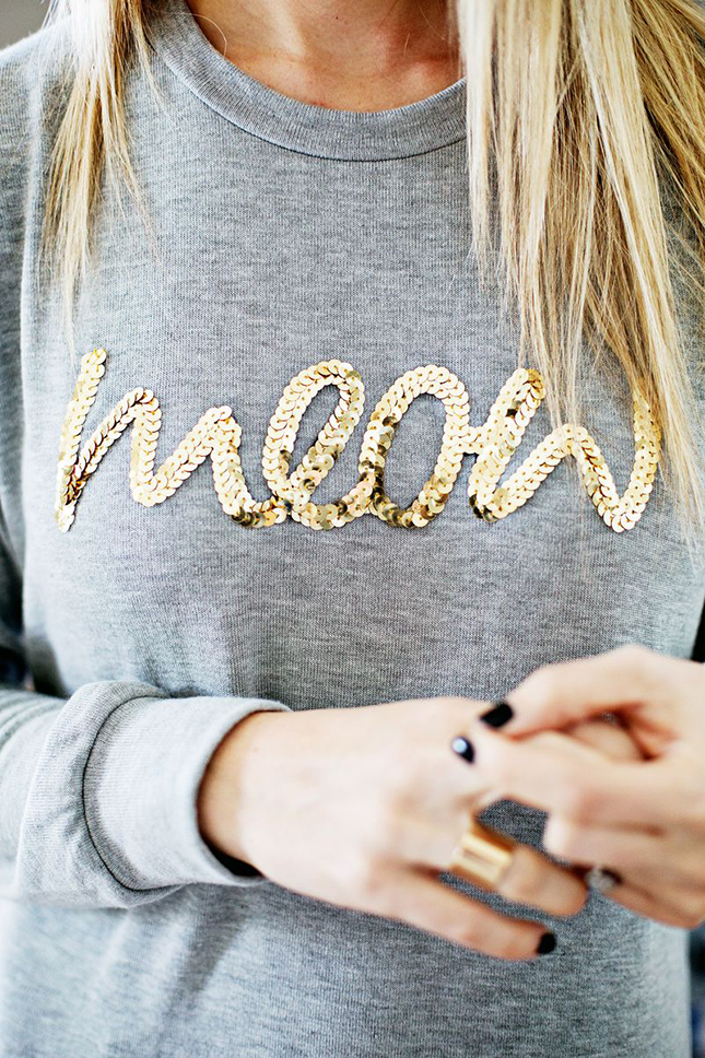 Sequin worded sweatshirt