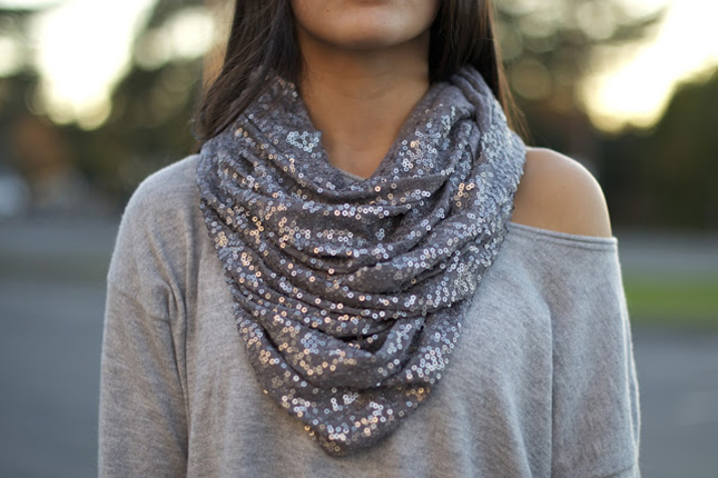 Sequinned infinity scarf