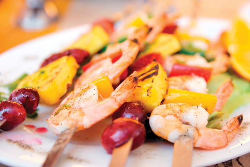 Shrimp pineapple kebabs