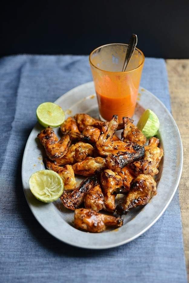 Sticky lime and maple grilled wings