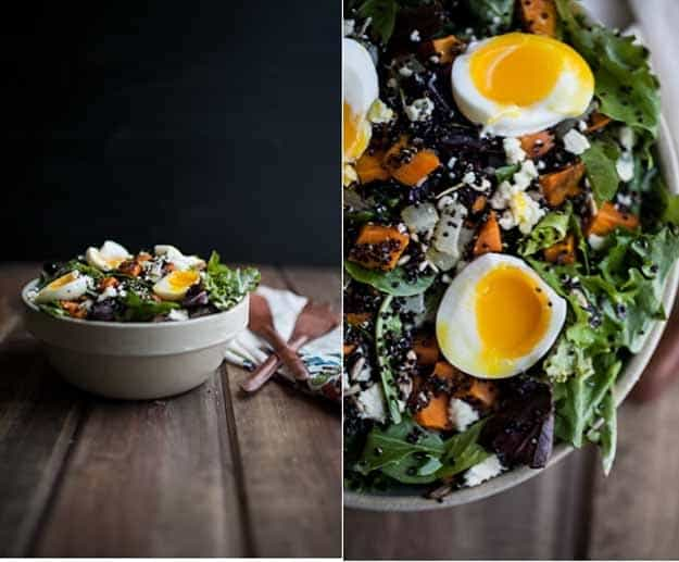 Sweet potatoe and quina salad with soft boiled eggs