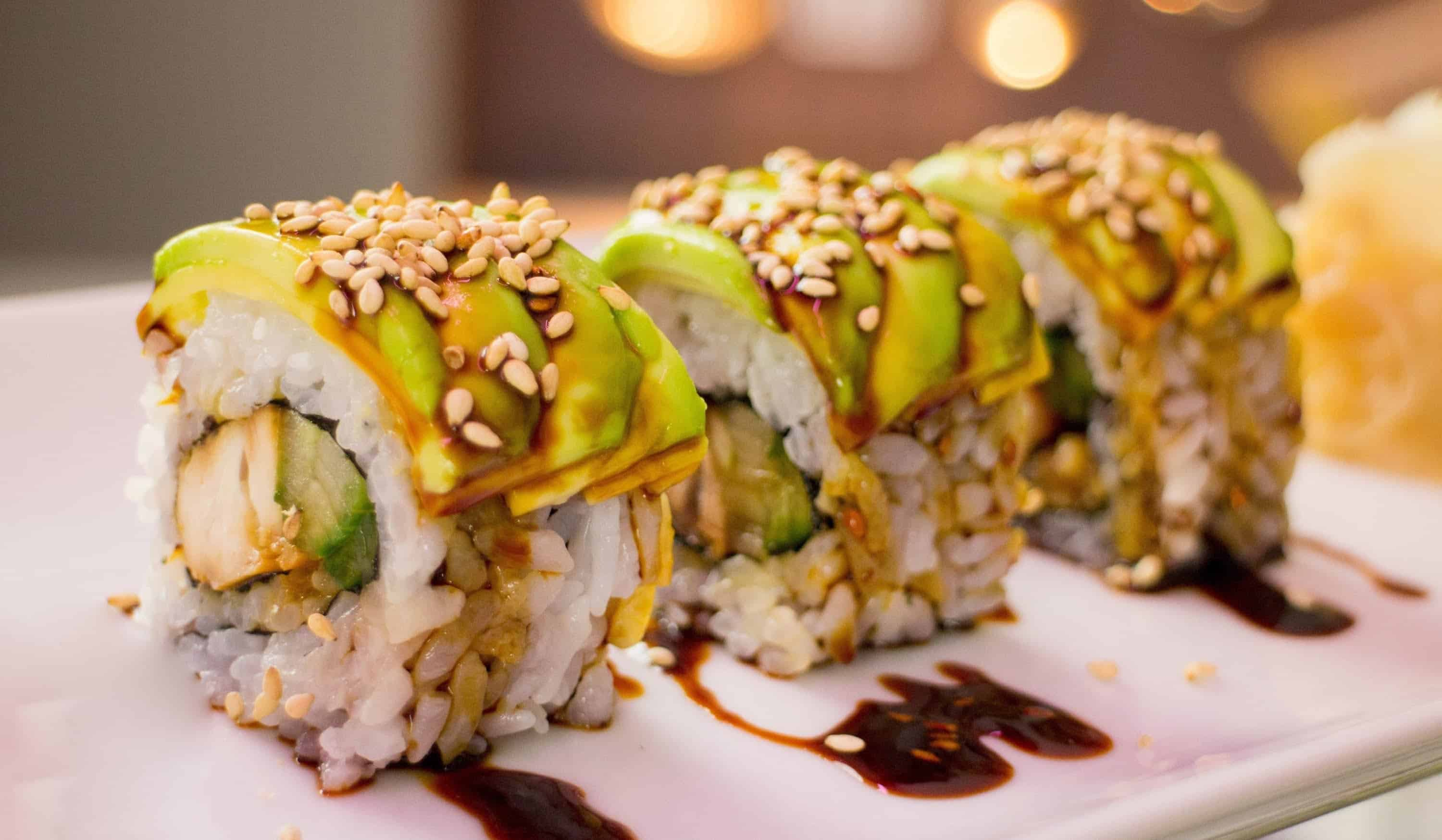 Teriyaki chicken sushi roll