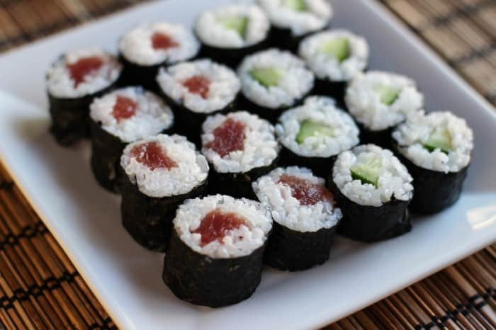 Tuna and cucumber rolls