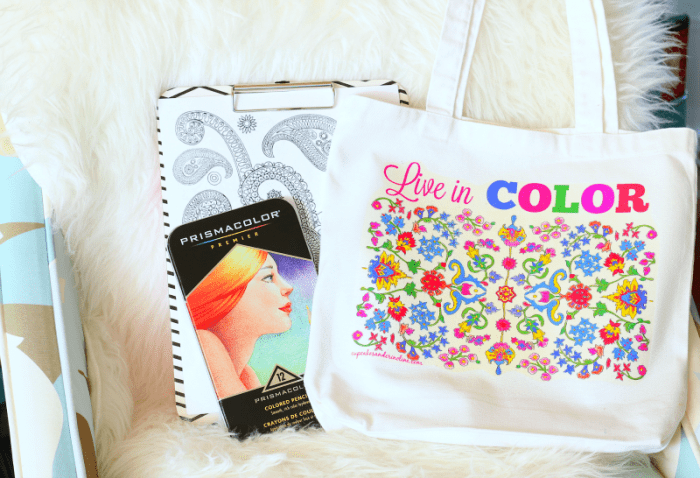 adult coloring page tote bag