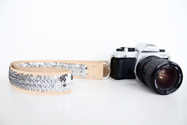 sequinned camera strap
