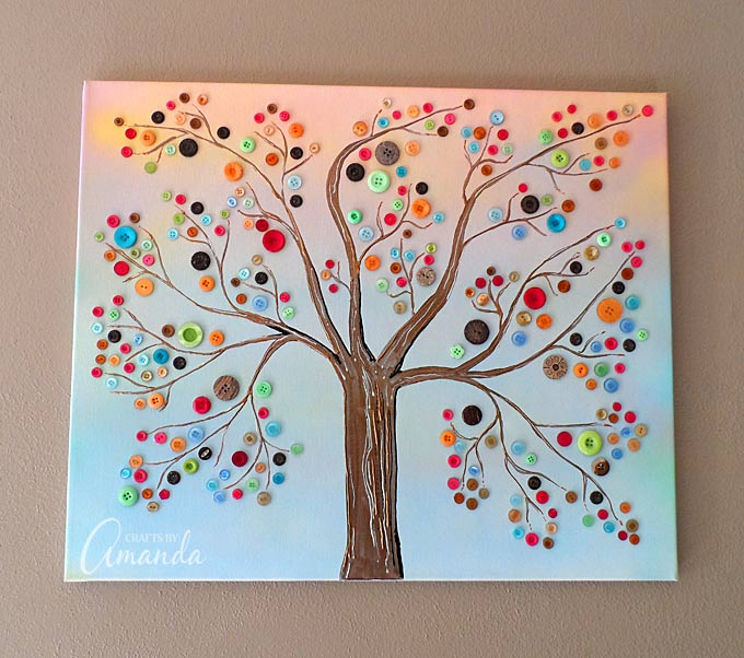vibrant button tree canvas art