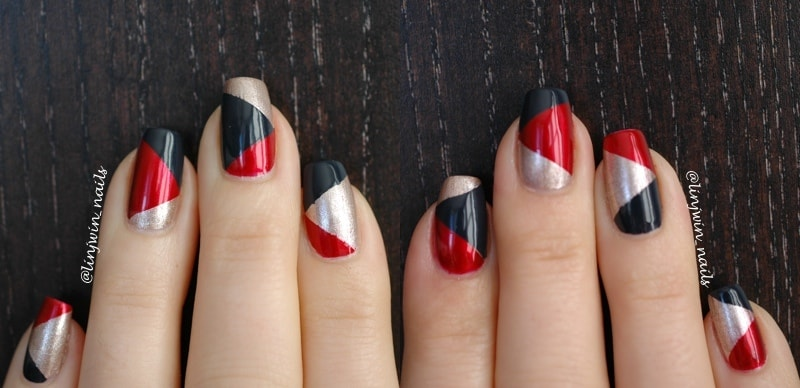 Black, red, and silver diagonal manicure