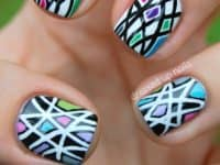 Busy colourful lines and spaces 200x150 Nail Trends: Geometric Manicures for That Chic, Urbane Look!