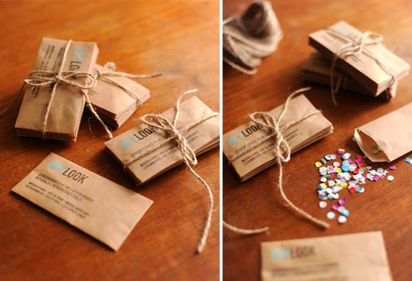 Confetti envelope business cards