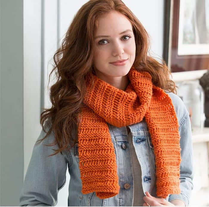 Cozy Garter drop-stitch scarf