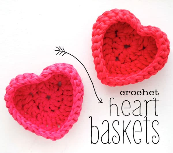 Crochet heart baskets
