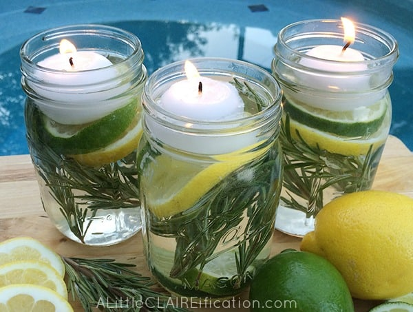 DIY Bug Repellent Summer Mason Jar-Luminaries