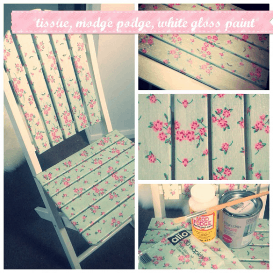 Decoupage wooden furniture upcycling