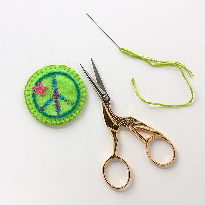 Embroidered felt peace sign patch