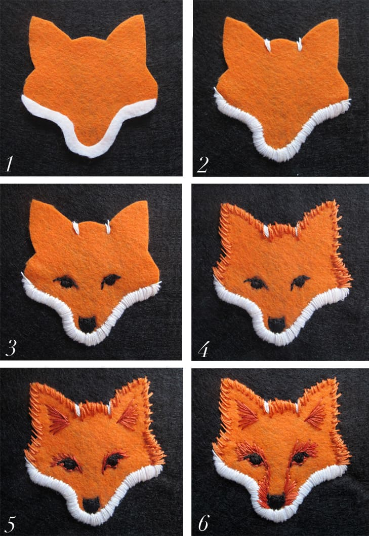 Felt embroidered fox face patches