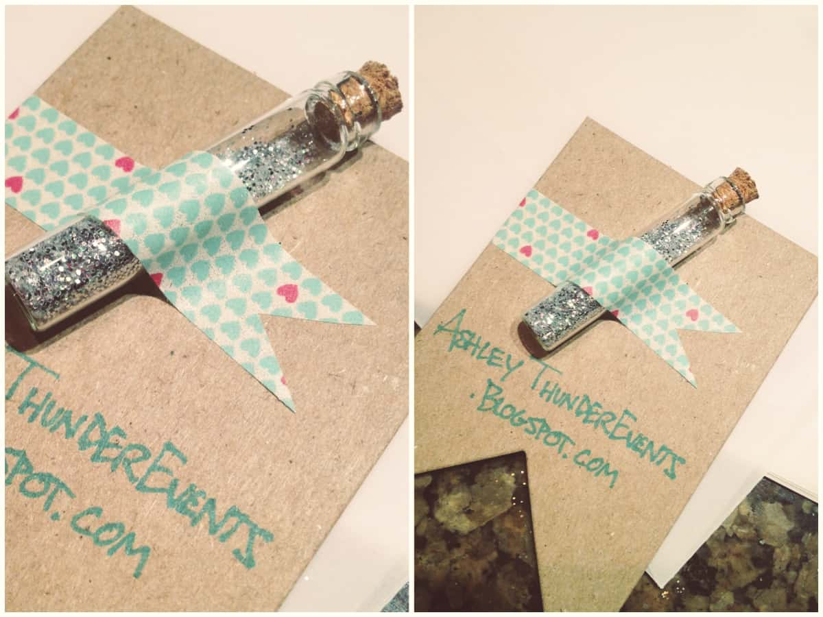 Glitter vial business cards