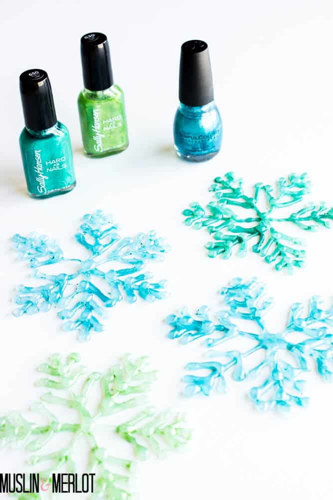 Glue Gun Snowflakes with Nailpolish