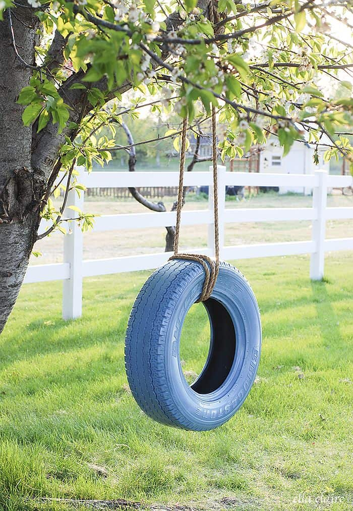Homemade tire swing