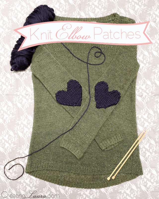 Knitted heart elbow patches