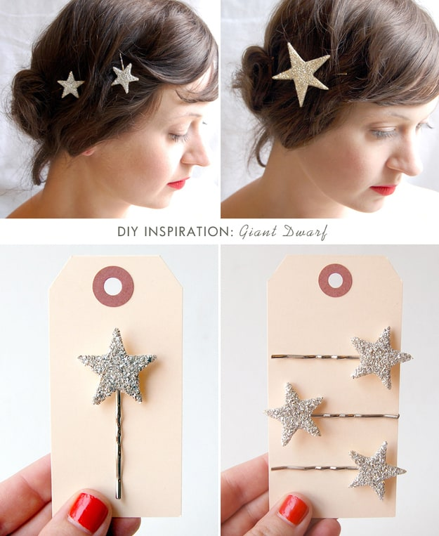 Large twinkling star bobby pins