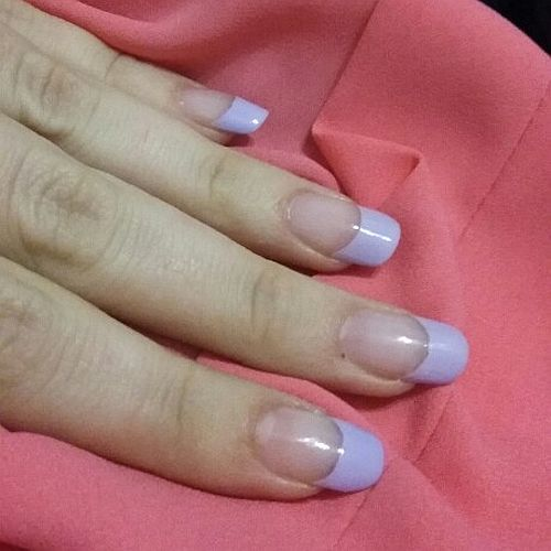 Lovely Pastel purple French manicure
