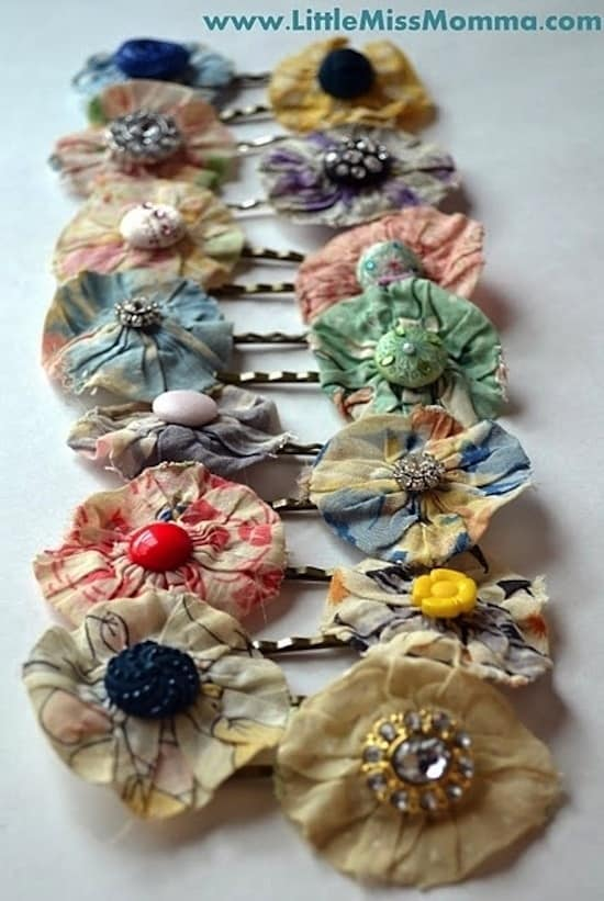 Material flower Anthropologie recreation bobby pins