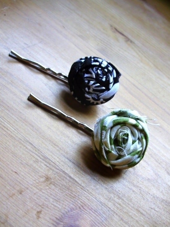 Material rosebud bobby pins
