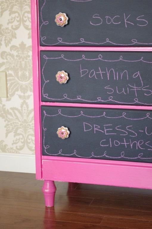 Pink and black chalkboard dresser
