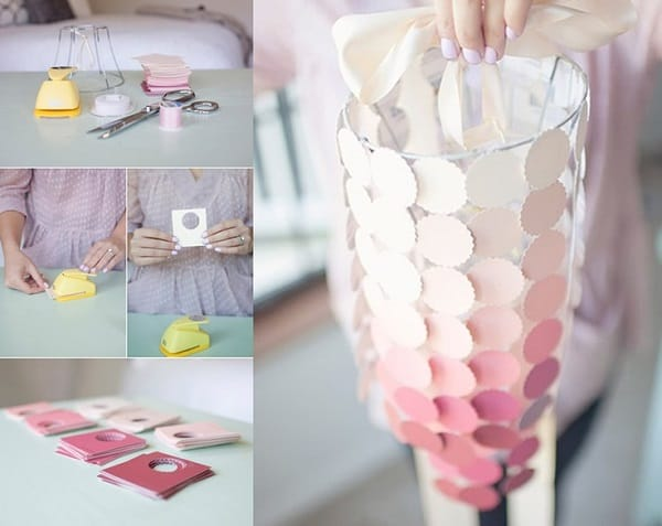 Pink paint chip chandelier