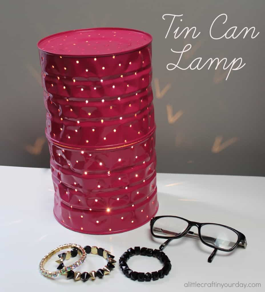 Pink tin can lamp
