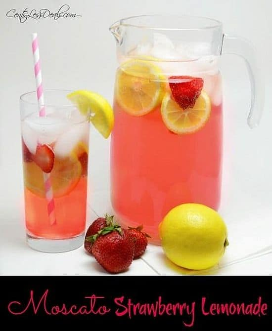 Refreshing Moscato strawberry lemonade