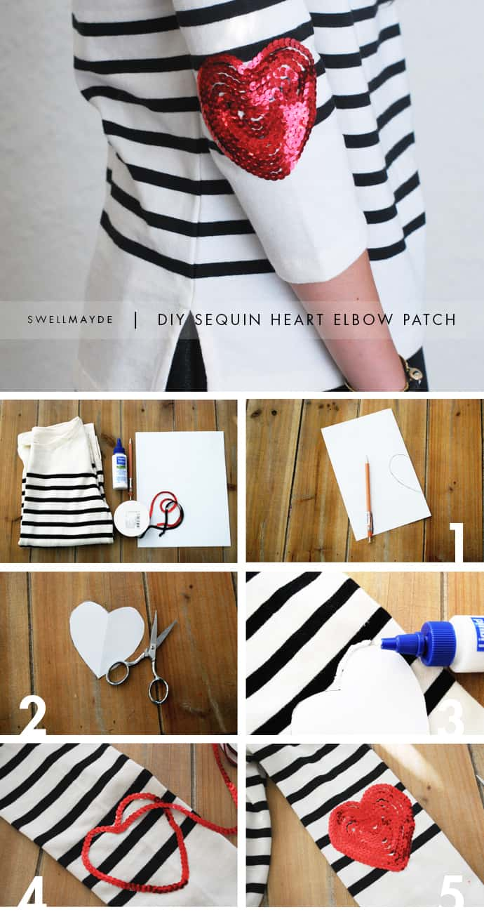 Sequinned heart elbow patch