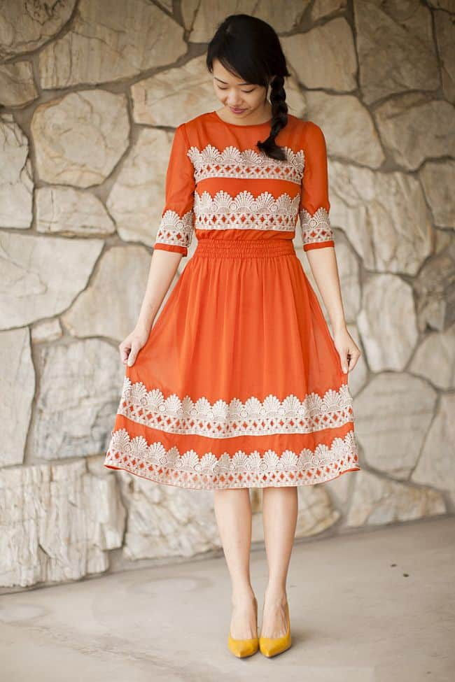 Tangerine Flicker Anthropologie Dress