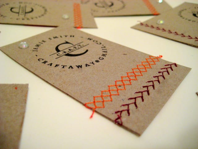 Upcycled embroidered business cards